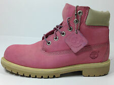 Timberland 6 Inch 12719 Girls Kids Ladies Rose Pink Leather Boots Size 2 USA.