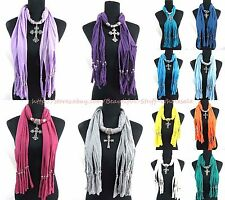US SELLER-lot of 6 rhinestone cross pendant scarf necklace Cheap Fashion Scarve