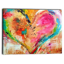 "Large Love Heart Coloured Canvas Framed Prints Abstract Wall Art Panel 30"" x 20"""