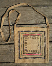Linear Burlap Purse with Cross-Stitch Embroidery - Handmade by Michaela