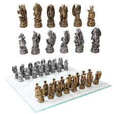 Dragon Chess Set w/ Glass Board Chessboard.Medieval Style Home Decor Gift 10904
