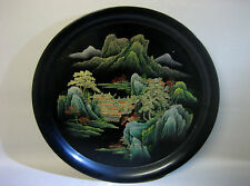 Huge vintage Oriental hand painted lacquer-ware / plastic platter