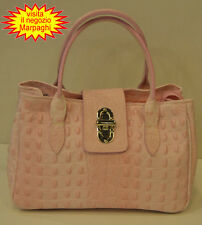 Borsa  donna Bag leather in vera pelle bovina rosa con stampa coccodrillo