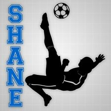 Soccer player wall decal,futbol kicker wall sticker soccer silhouette name decal