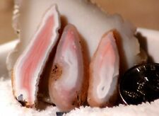 Australian Queensland agate 3 small slabs 10 grams pink white great banding