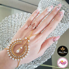 Stunning Gold Stones Hand Chain Panja Ring Bracelet Hand Jewellery Kundan Indian