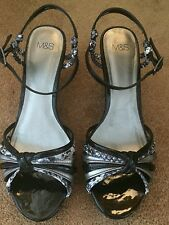 Beautiful Black, Silver & Grey Strappy Snakeskin Wedge Shoes From M&S, Size 6.5