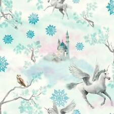 ARTHOUSE FAIRYTALE SNOWFLAKE PRINCESS CHILDRENS GLITTER WALLPAPER ICE BLUE