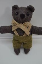 Harris Tweed Original Teddy Bear Hand Made Overalls Tie Plush Stuffed 12""