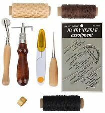 9PC Leather Tools Leather Sewing Kit Stitching Tools Awl Thimble Waxed Thread