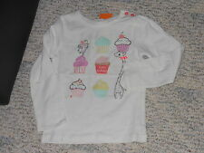 """NWT - Gymboree """"Birthday Shop"""" long sleeved white sparkly cupcakes top - 3T"""