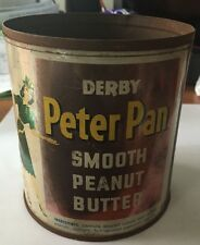 Vintage Derby Peter Pan Peanut Butter Advertising Tin - No Lid