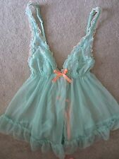 VICTORIA'S SECRET VS VERY SEXY BABYDOLL TURQUOISE RUFFLE BOW LINGERIE SMALL NWT