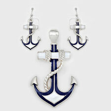 Anchor Pendant Earrings Beach Nautical Sealife SILVER BLUE WHITE Sailor Jewelry