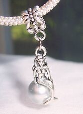 Mermaid Gray Pearl Beach Ocean Dangle Bead for Silver European Charm Bracelets