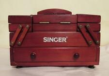 SINGER SEWING BOX CABINET FOLD OUT STORAGE BASKET WOOD