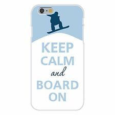 Keep Calm & Board On Snowboarding FITS iPhone 6+ Plastic Snap On Case Cover New