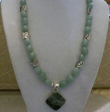 """18"""" Handmade Green Aventurine Necklace with Sterling Silver Seraphinite Pendant"""