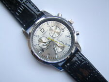 Very Smart Silver Faced Geneva Quartz Watch Black Strap