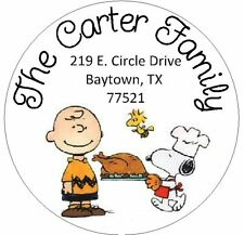 SNOOPY & CHARLIE BROWN THANKSGIVING - Round Return Address Labels