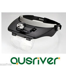 Head Mounted Magnifying Glass Lens Magnifier Loupe Reading 2 LED Lights 1.2-3.5x