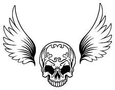 1x Skull Sticker wings Bumper Helmet Skateboard Fridge Guitar Locker Door #31
