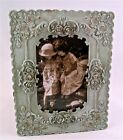 """Shabby Distressed SAGE w ROSES & CRYSTALS Chic Picture/Photo Frame~8.5"""" x 6.5"""""""