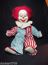 VINTAGE 20 INCH TALL GUND CLOWN WITH RED HAIR-COTTON FILLED -PLASTIC FACE W/TAGS