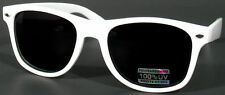 WHITE CLASSIC 80s RETRO VINTAGE WAYFARER DARK LENS SUNGLASSES SHADES UV400