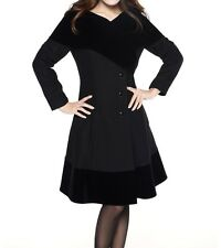 Black Wool Blend & Flocked Velvet Vintage Style Classic Coat 20 Plus 20W 2X