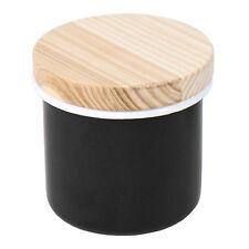 Lsa 9cm black enamel canister sel pig kitchen spice herb jarre support pot