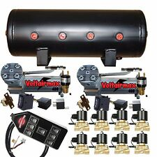 "Air Compressors VoltAir 480C 3/8"" Valves Air Bag Management 3-Gal Blk 7 Switch"