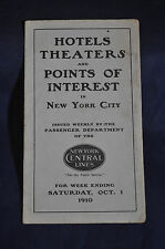 1910 Hotels, Theaters and Points of Interest in New York, New York Central RR