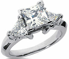 2.12 ct total Princes & Triangle shape DIAMOND Engagement Wedding 14k Gold Ring