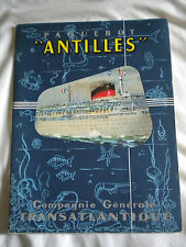 Cgt Ocean Liner SS Antilles Guide book and deck plans with fold out cutaway