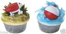 12 PARTY CAKE TOPPER FISHING LURE AND BOBBER DAD CUPCAKE RINGS BAKERY SUPPLY