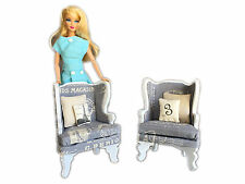 MiniMolly Dollhouse Furniture BARBIE SIZE Arrm Chairs X 2, Lounge Room 1:6 scale