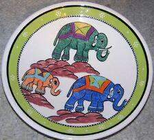 "Green Border Three Elephant Pattern 7"" Handpainted Turkish Ceramic Plate"