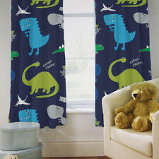 "Children's Kids Curtains Dinosaurs Blue Boys 66"" by 54"" & Tiebacks Baby Nursery"