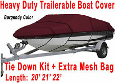 "V-Hull Fish Ski 20' 21' 22' Boat Trailerable Cover Beam 100""  Burgundy B2931R"