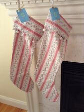 NWT SIS BOOM/JENNIFER PAGANELLI VINTAGE FABRIC CHRISTMAS STOCKING - Pair