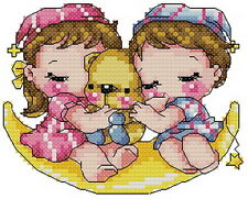 14 count aida children cross stitch baby kit with colorful chart KC012