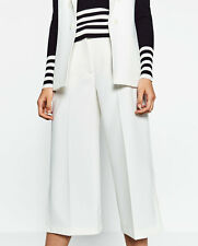 ZARA Women's Culottes with Slits(White, US M,  L/EUR M,  L)