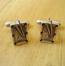 ONE PAIR STERLING SILVER SNOOKER TABLE CUFFLINKS