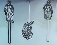 Superman, Batman & Robin Chocolate Lollipop Candy Mold #405 - NEW