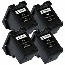 4 Pk Black Ink for 92 Photosmart C3135 C3140 C3150 C3180 C4180 7850