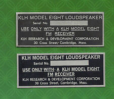 KLH MODEL EIGHT 8 SPEAKER BACK LABEL