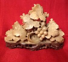 VINTAGE ASIAN HAND CARVED SOAPSTONE FRUITING TREE STATUE FIGURINE