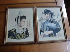 2 tableaux  / lithographies, D. Derveaux, Bourleden Quimper + biniou cornouaille
