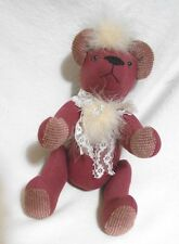 Soft Touch Wool & Chenille Cloth Pink Bear with buttons 12""